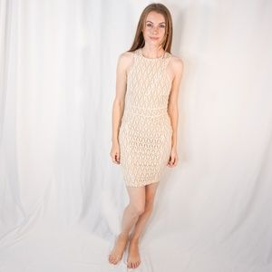 BEBE Addiction White Mesh Knit Illusion Mini Dress